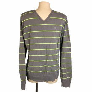 HURLEY Gray/Yellow Striped Pullover Sweater V-Neck
